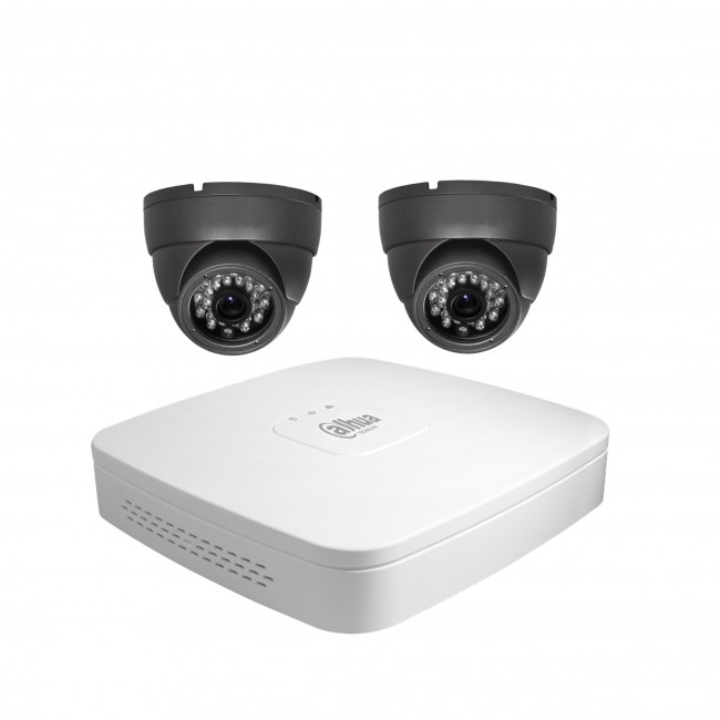 Wired CCTV 2 Camera Kit Grey