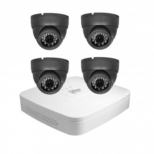 Wired 4  Cameras CCTV Kit Grey